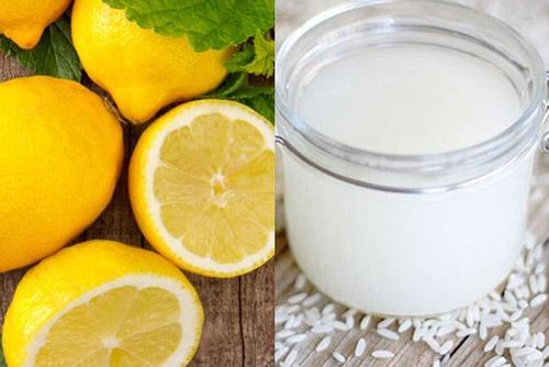 nước vo gạo và chanh tươi giúp trị mụn hiệu quả