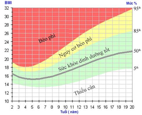 Cách tính chỉ số BMI cho người Việt Nam - Biểu đồ BMI cho trẻ em