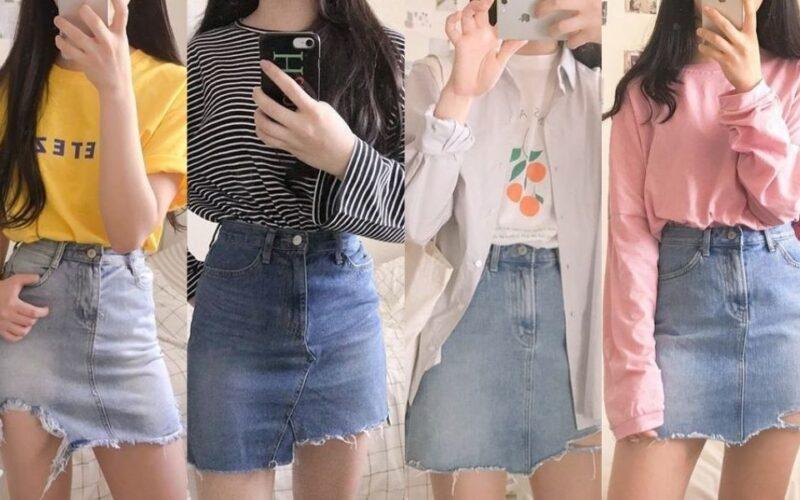 Cách phối chân váy jeans