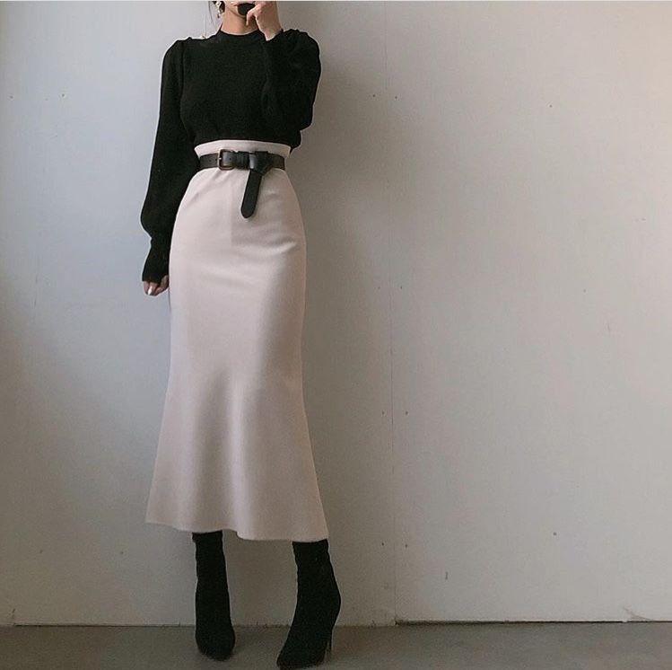 Chân váy bút chì phối với áo 12
