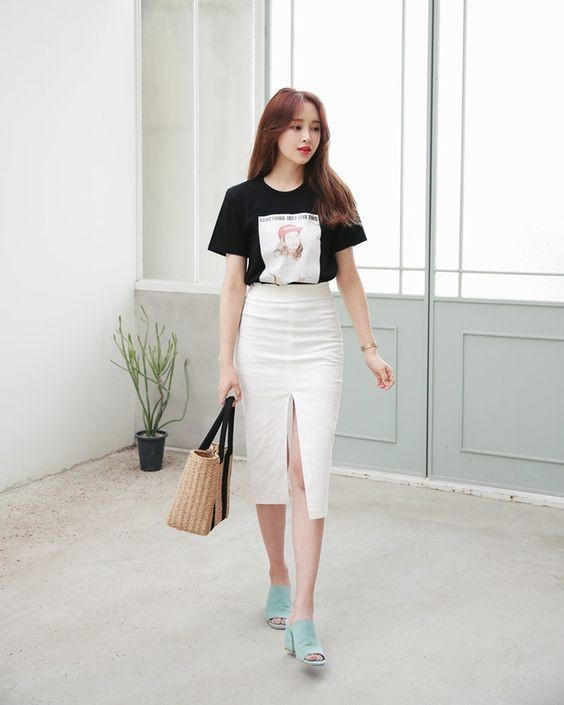 Chân váy bút chì phối với áo 2