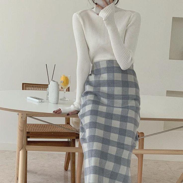 Chân váy bút chì phối với áo 8
