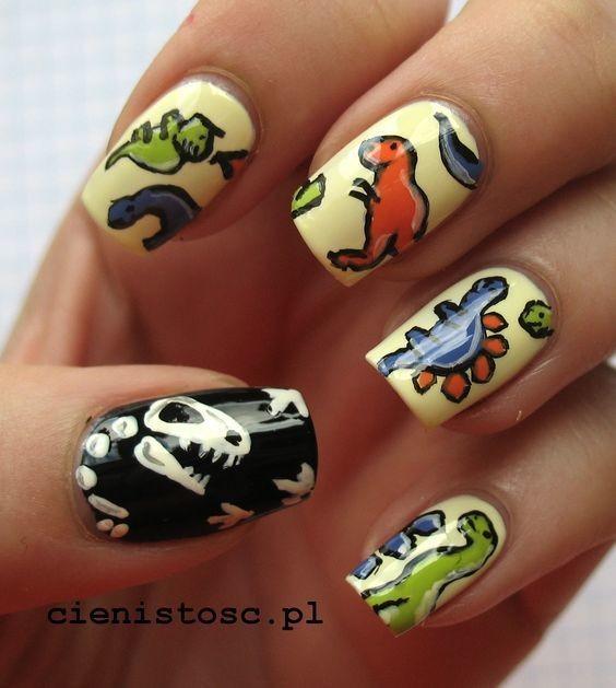 Kiểu nail khủng long đầy màu sắc