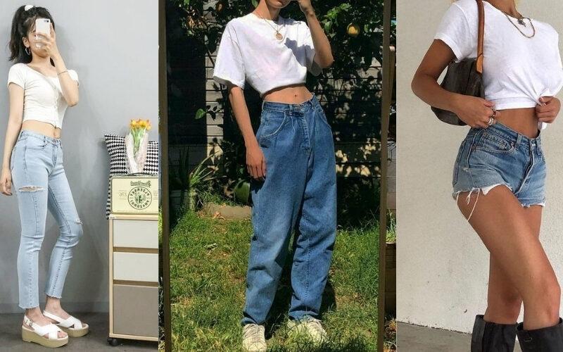 Mix áo thun trắng và quần jeans 1
