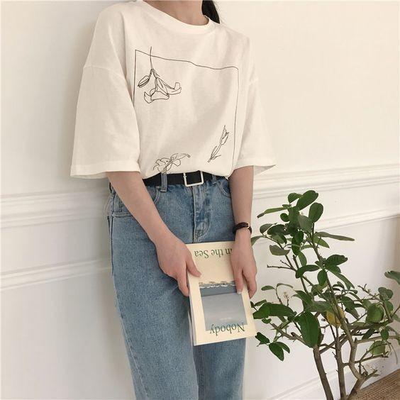 Mix áo thun trắng và quần jeans 6