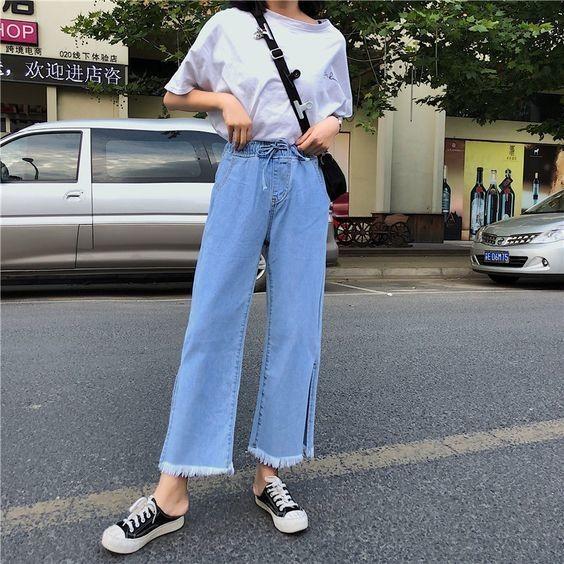 Mix áo thun trắng và quần jeans 8