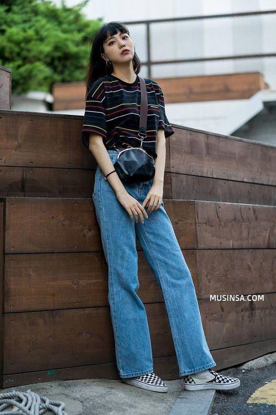 Phối đồ với quần jeans ống rộng 10