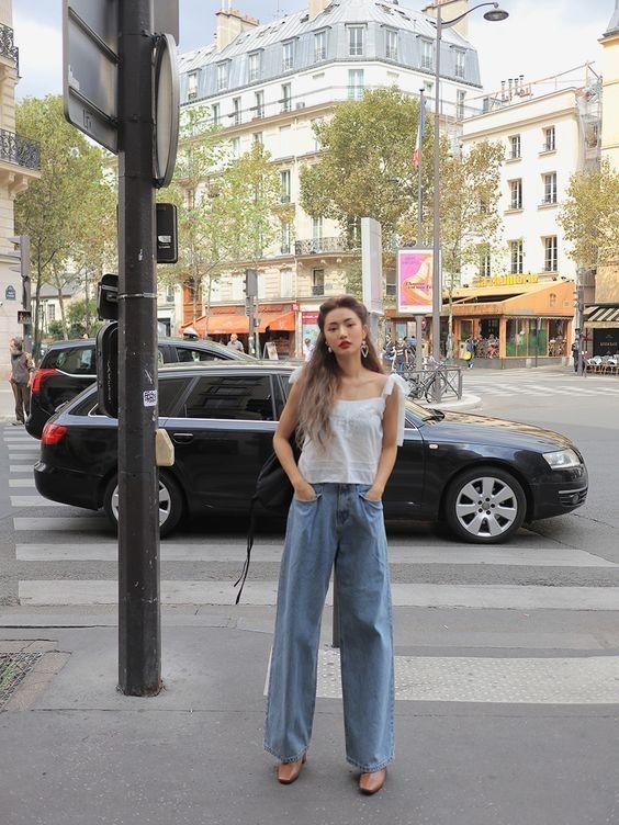 Phối đồ với quần jeans ống rộng 15