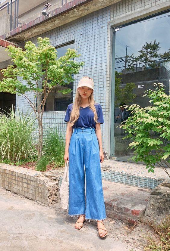 Phối đồ với quần jeans ống rộng 19