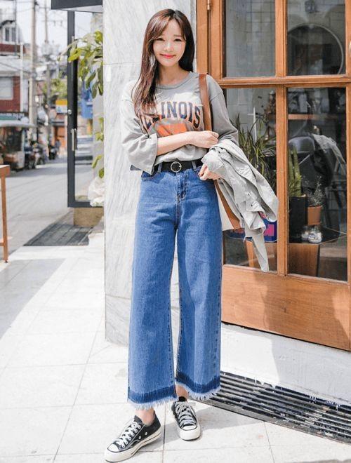 Phối đồ với quần jeans ống rộng 4