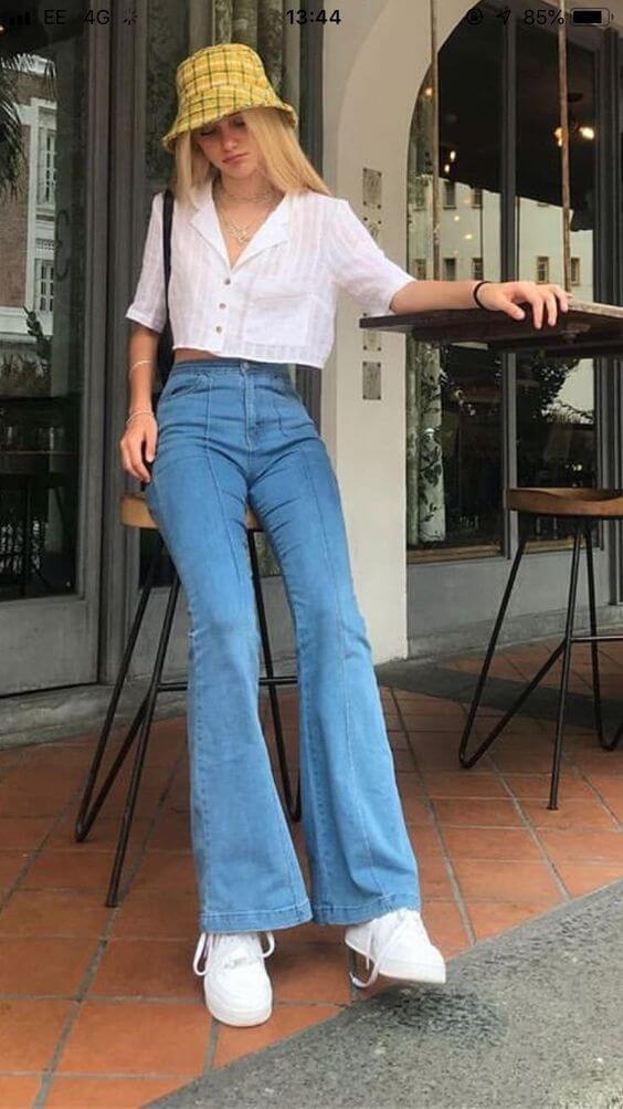Phối đồ với quần jeans ống rộng 31
