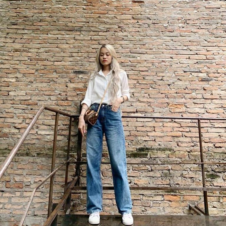 Phối đồ với quần jeans ống rộng 32