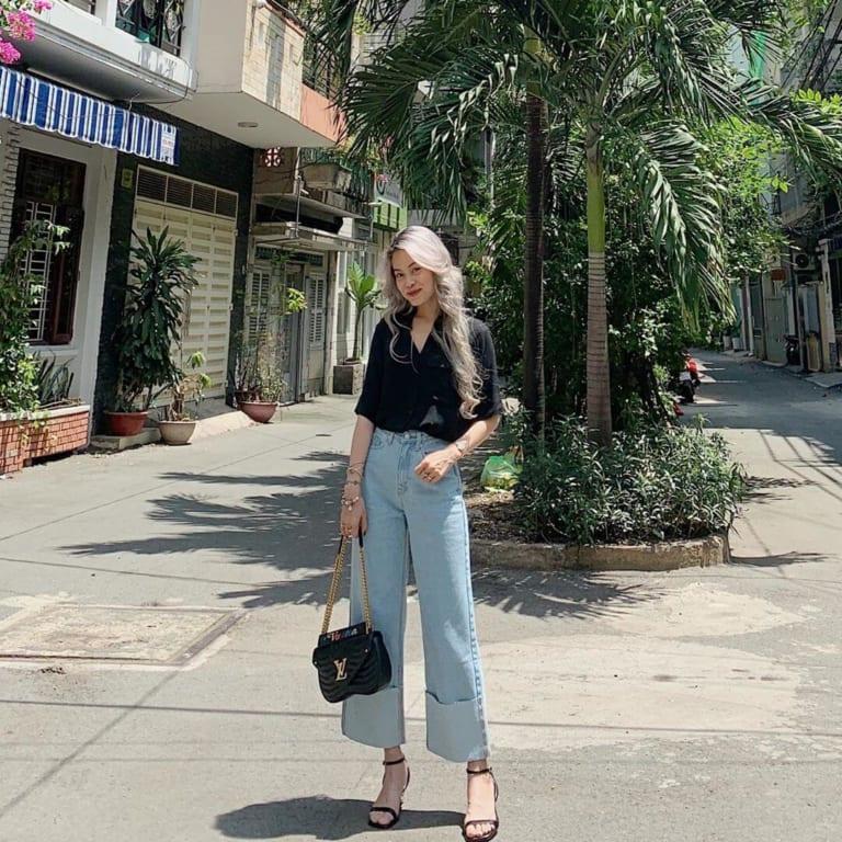 Phối đồ với quần jeans ống rộng 35