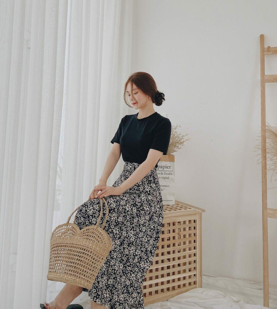 Áo phông + Chân váy dài 3