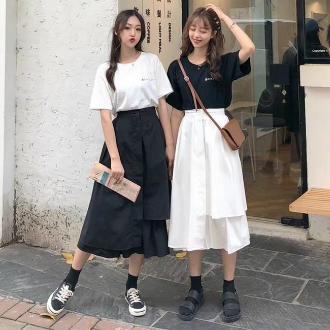 Áo phông + Chân váy dài 6
