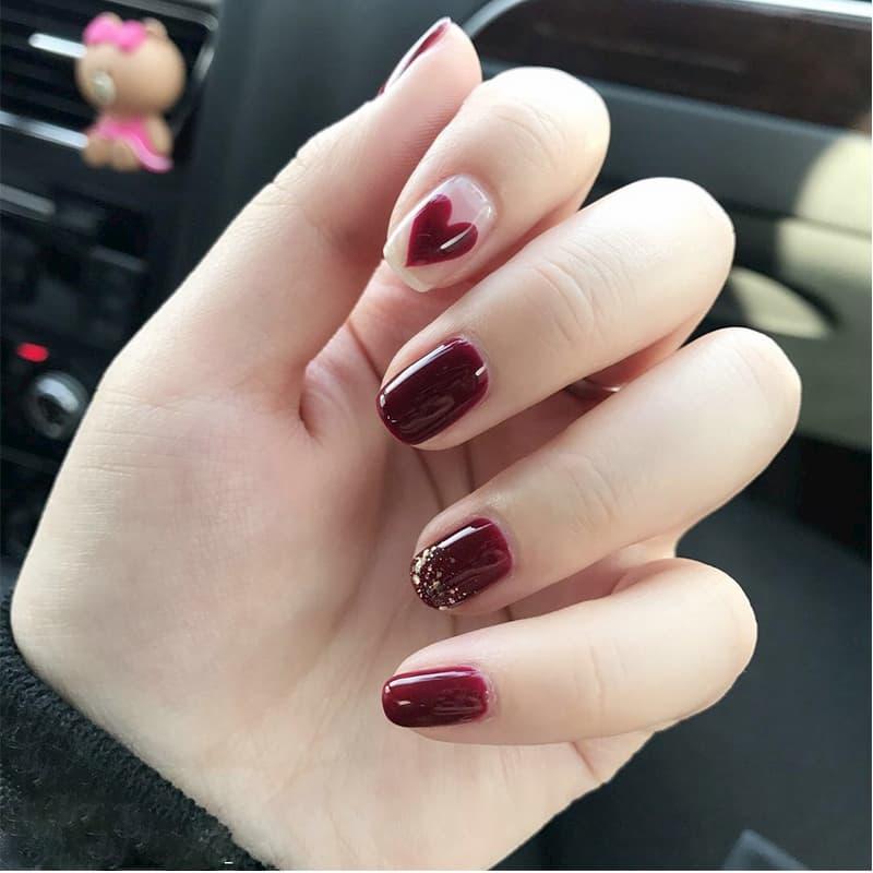 Mẫu nail đỏ rượu 5