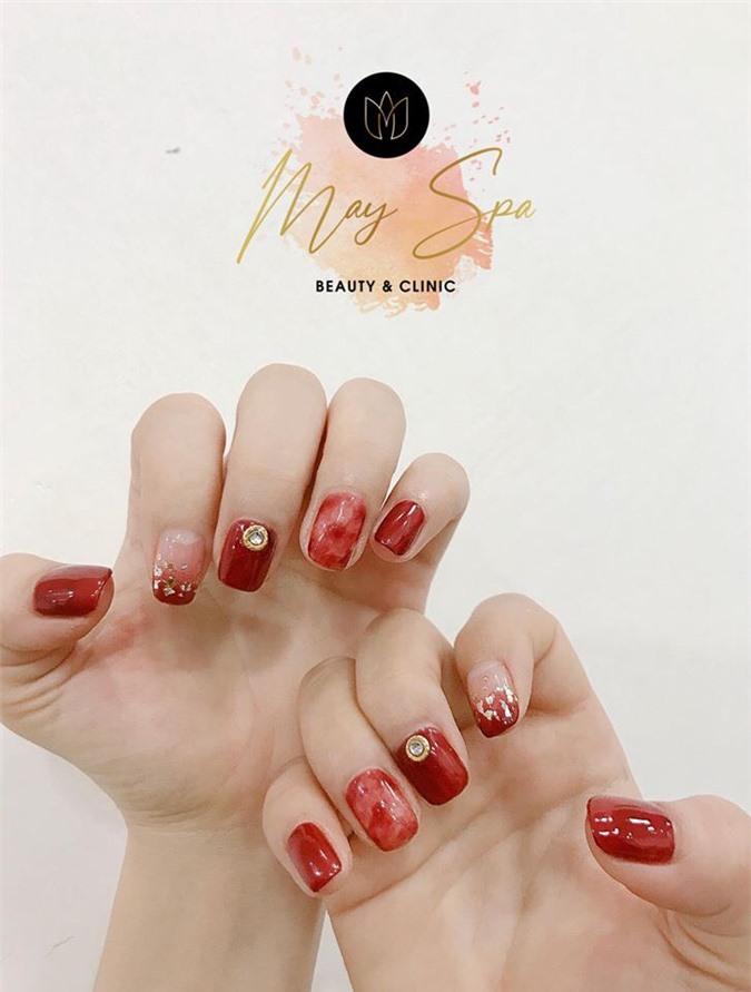 Mẫu nail đỏ rượu 7