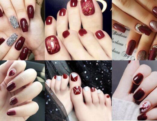 Mẫu nail màu đỏ rượu