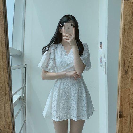 Váy ngắn cổ chữ V_7