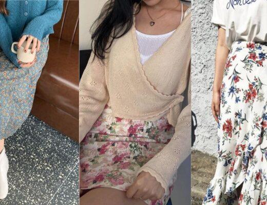 phối đồ với váy hoa 22