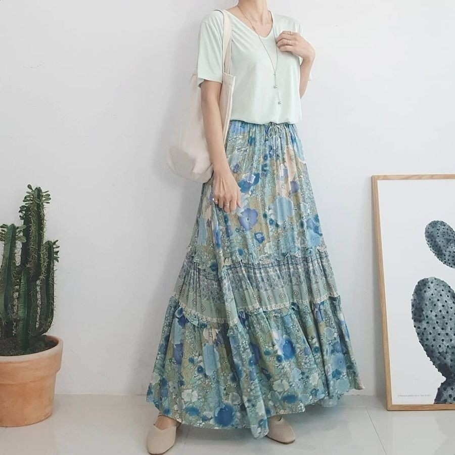 phối đồ với váy hoa 5